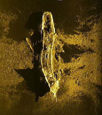 Timeline of Malaysia Airlines Flight 370 - A two-dimensional image produced by side-scan sonar of the shipwreck discovered in December 2015
