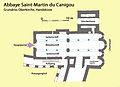 Abbaye Saint-Martin du Canigou, Grundriss Oberkirche, Handskizze.jpg