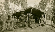 Aboriginal boys and men in front of a bush shelter - NTL PH0731-0022.jpg