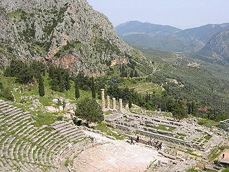 Ancient Greek architecture - The Theatre and Temple of Apollo in mountainous country at Delphi