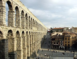 Romanization of Hispania - Aqueduct of Segovia: one of the most extensive surviving civil works from Roman Hispania