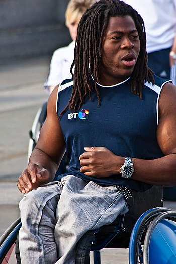 Ade Adepitan MBE, the well-known wheelchair ba...