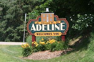 Adeline, Illinois - Sign leading into Adeline