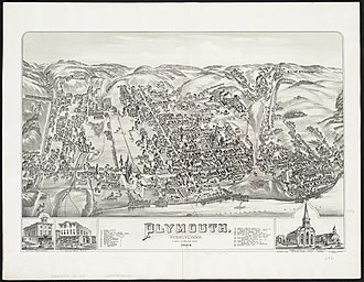Plymouth, Pennsylvania - Image: Aerial View, Plymouth PA, 1884