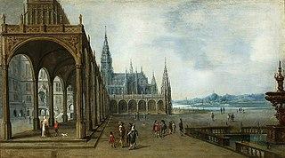 Architektura fantastyczna z gotyckim kościołem