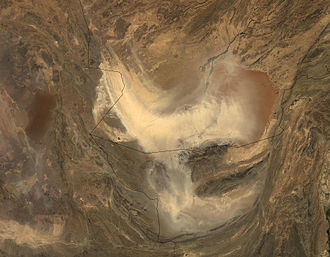 Sistan Basin - Satellite image of southern Afghanistan and Iran in dust storm