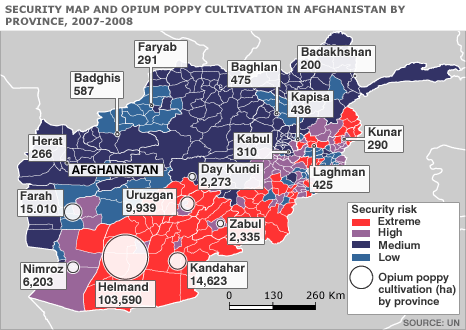 Afghanistan map - security by district and opium poppy cultivation by province 2007 - 2008