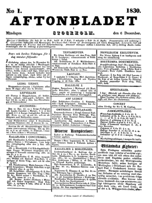 1830 in Sweden - The first page of the first issue of Aftonbladet