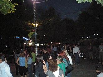 Anti-austerity movement in Greece - Image: Aganaktismenoi Larissas 30 May 2011