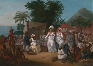 A Linen Market with a Linen-stall and Vegetable Seller in the West Indie
