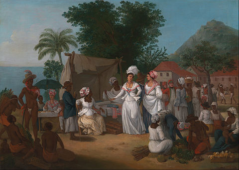 A Linen Market with enslaved Africans. West Indies, circa 1780 Agostino Brunias - A Linen Market with a Linen-stall and Vegetable Seller in the West Indies - Google Art Project.jpg