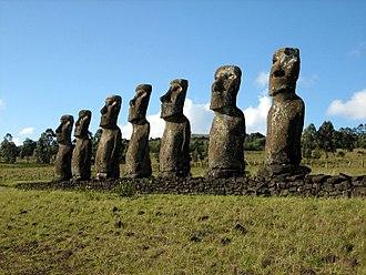 Rapa Nui National Park - Ahu Akivi moai that face the ocean