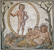 Aion and Terra Mater (Gaia) with four children, perhaps the personified seasons, mosaic from a Roman villa in Sentinum, first half of the 3rd century BC, (Munich Glyptothek, Inv. W504)