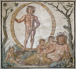Terra (mythology) - A syncretic Tellus reclining with four children, probably the Seasons, accompanied by Aion-Uranus within a zodiac wheel (mosaic from Sentinum, AD 200-250, Glyptothek).