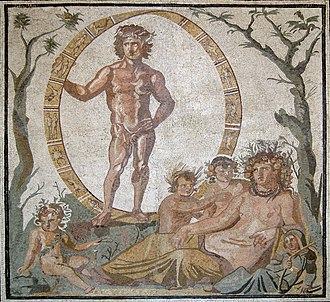 Gaia - Aion and Gaia with four children, perhaps the personified seasons, mosaic from a Roman villa in Sentinum, first half of the third century BC, (Munich Glyptothek, Inv. W504)