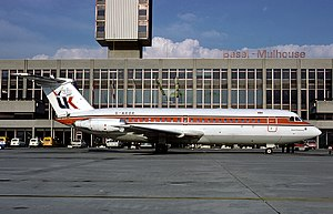 AirUK - An Air UK BAC One-Eleven still in basic BIA livery at Basle/Mulhouse EuroAirport in 1980.