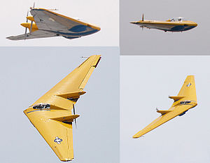 Northrop N-9M - The restored N-9MB Flying Wing being flown at Planes of Fame's 2004 airshow, Chino. The museum usually flies their one-of-a-kind Flying Wing at several airshows per year.