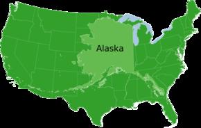 Dimensioni dell'Alaska confrontate con il resto degli Stati Uniti.