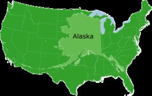 Alaska superimposed over the contiguous United...