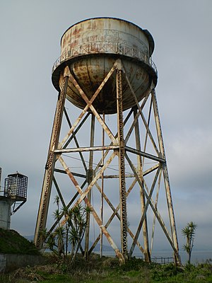 Alcatraz water tower - The tower in 2008, in an advanced state of deterioration.