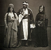 A Jewish woman and a couple of Bedouins, 1873.