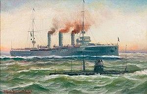 Alfred Jensen Kriegsschiff und U-Boot auf See 1914.jpg