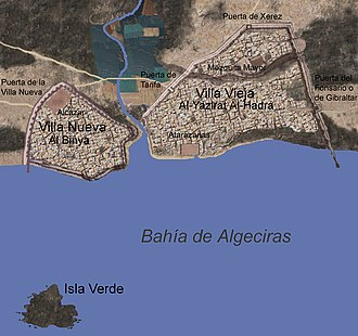 Siege of Algeciras (1342–44) - Location of the Algeciras Villas. North is to the right.