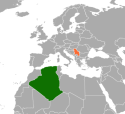 Map indicating locations of Algeria and Serbia