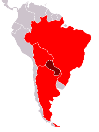 Guarani dialects - Countries where Guarani is spoken are colored in red. The country in dark red is Paraguay where Guarani is an official language.
