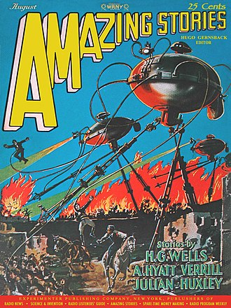 Frank R. Paul - Paul's cover for Amazing Stories, August 1927, illustrating The War of the Worlds