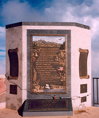 America the Beautiful - Commemoration plaque atop Pikes Peak in July 1999