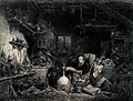 An alchemist reading in a shadowy laboratory. Lithograph by Wellcome V0025599.jpg