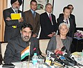 Anand Sharma and the Minister of Economy, Finance and Industry, France, Mrs. Christine Lagarde interacting with the media, after business meeting, in New Delhi on December 06, 2010.jpg