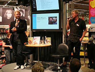 Anders Jacobsson and Sören Olsson - Sören Olsson (left) and Anders Jacobsson (right) at the Gothenburg Book Fair in 2007.