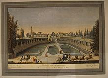 L'anfiteatro di Boboli, in una stampa acquerellata settecentesca