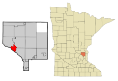 Anoka Cnty Minnesota Incorporated and Unincorporated areas Anoka Highlighted.png