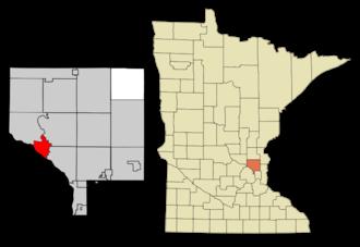 Anoka, Minnesota - Image: Anoka Cnty Minnesota Incorporated and Unincorporated areas Anoka Highlighted