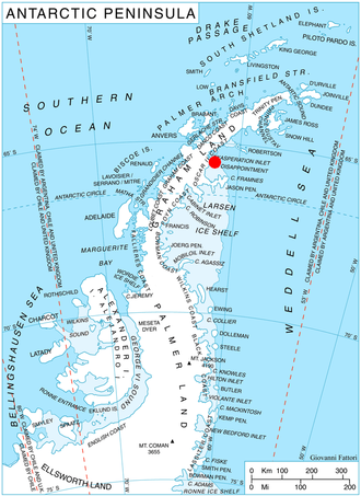Cape Disappointment (Antarctica) - Location of Heros Peninsula in Graham Land, Antarctic Peninsula.