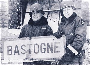 Harry Kinnard - Acting commander of the 101st Airborne Division, Brigadier General Anthony McAuliffe and Harry Kinnard, pictured here as a lieutenant colonel, commanding officer of the 1st Battalion, 501st Parachute Infantry, at Bastogne after the victory battle.