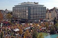Manifestazione anti nucleare a Colmar, nel nord est della Francia, il 3 ottobre 2009.