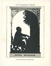 Bruckner an der Orgel, Silhouette von Otto Böhler (Quelle: Wikimedia)