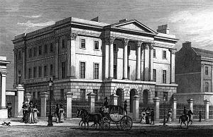 Apsley House - Apsley House in 1829 by TH Shepherd. The main gateway to Hyde Park can be glimpsed on the left.