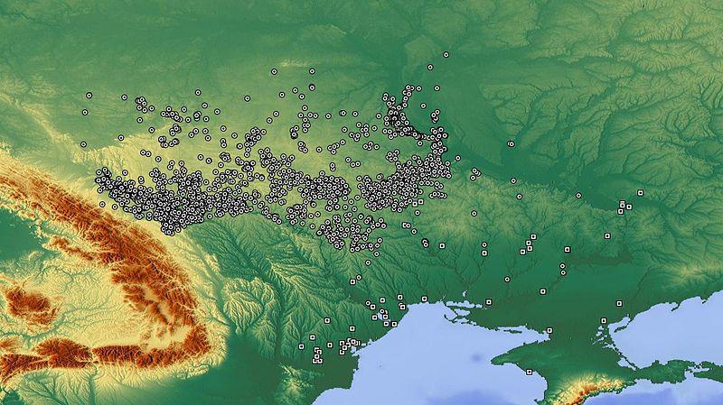 Мапа Трипільських поселень в Україні