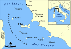 Gorgona Agricultural Penal Colony - The Tuscan Archipelago with the northern island of Gorgona located west of Livorno.