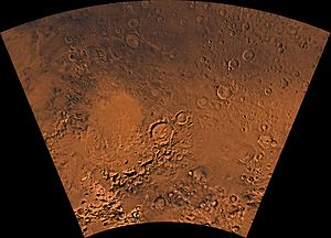 Argyre quadrangle - Image of the Argyre Quadrangle (MC-25). The west-central part contains the Argyre basin, defined by a rim of rugged mountain blocks that surrounds a nearly circular expanse of light-colored plains. The large basin is surrounded by heavily cratered highlands.