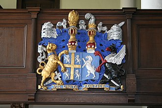 Bishop of Durham - Lord Crew's arms has a Baron's coronet, but as Bishop of Durham he showed an Earl's coronet too