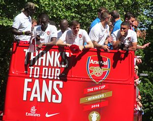 2014 FA Cup Final - Arsenal players during the open top bus parade.