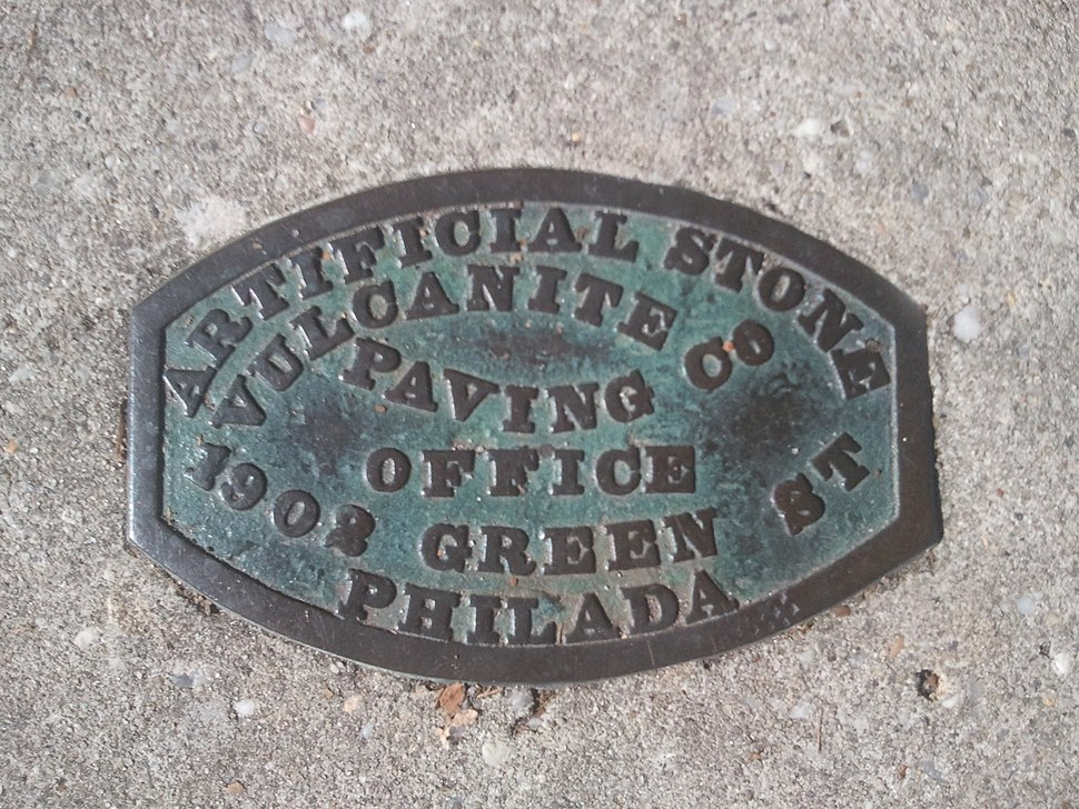 Artificial Stone Vulcanite Paving Co placard
