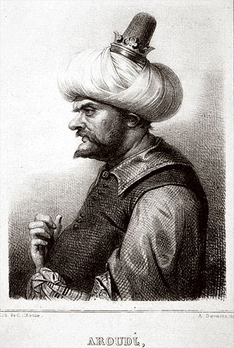 Oruç Reis - Barbarossa, lithograph by Charles-Etienne Motte, after a drawing by Achille Deveria.
