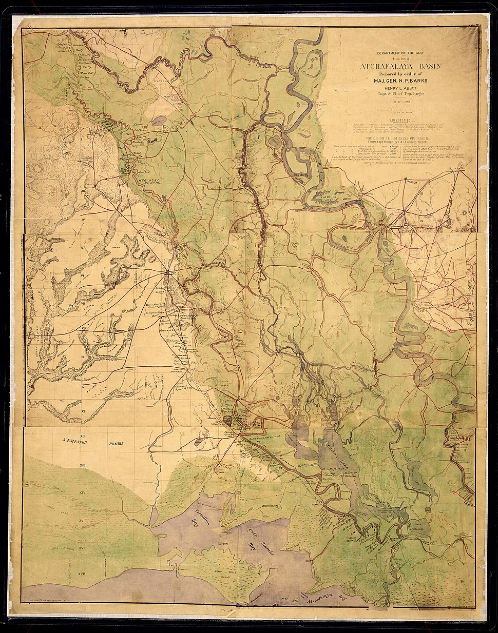 Atchafalaya Basin. Prepared by order of Maj. Gen. N. P. Banks. Henry L. Abbot, Capt. & Chief Top. Eng'rs., Feb.... - NARA - 305632